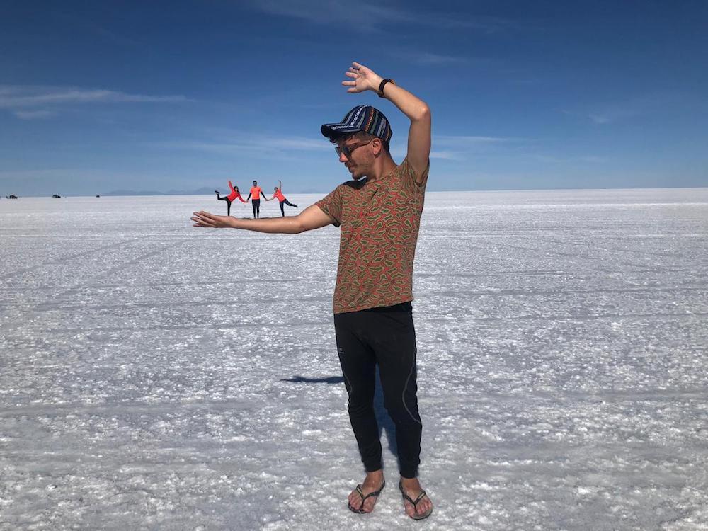 Kreative Fotos auf dem Salzsee Uyuni